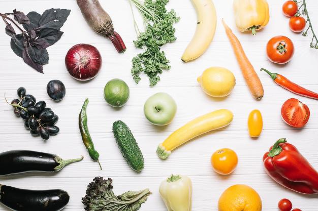légumes de toutes les couleurs santé arc-en-ciel dégradé