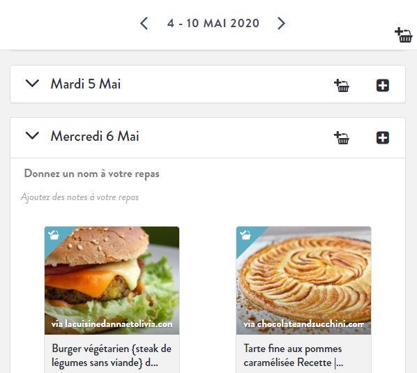 Plannificateur de recettes Menu Hebdo